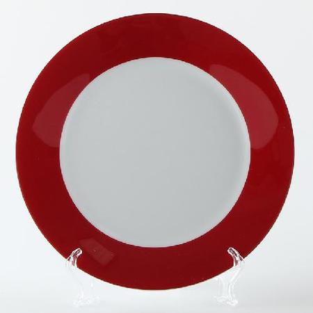 10 inch Ceramic Sublimation Plate Red Rim