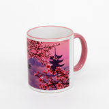 11 oz rim & handle pink sublimation mug