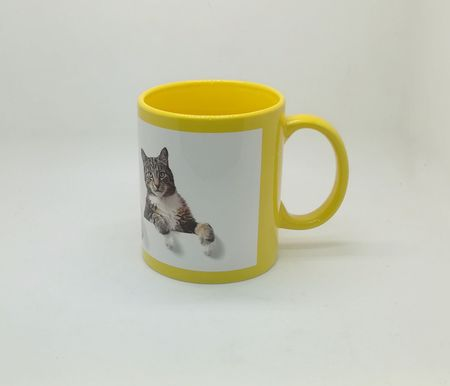 Full Color White Patch Sublimation Mug Yellow