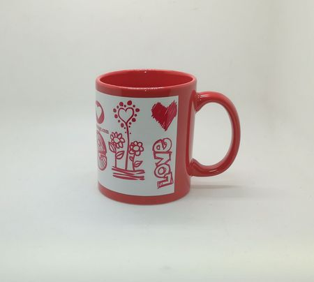 Full Color White Patch Sublimation Mug Red