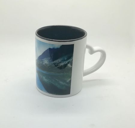 Heart Handle Inside Color Sublimation Mug Black