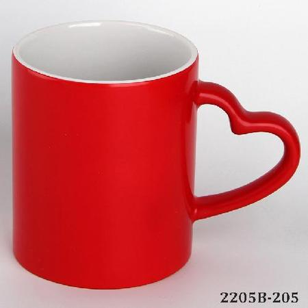 Heart Handle Color Changing Magic Sublimation Mug Red