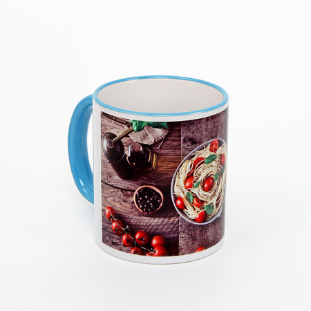 11 oz rim & handle blue sublimation mug