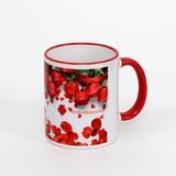 11 oz rim & handle red sublimation mug